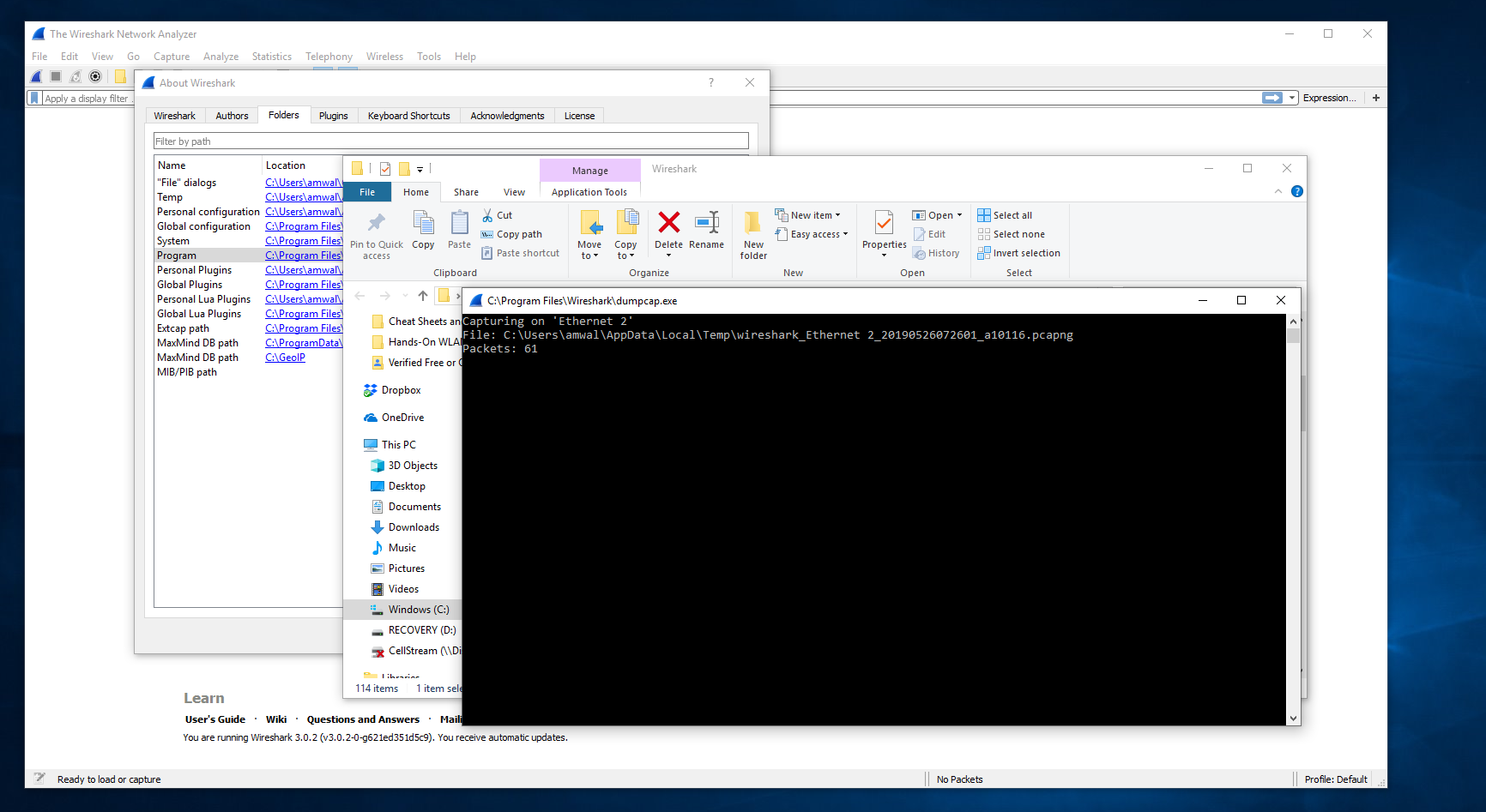 CellStream - How To Use 'dumpcap' Natively on your Computer