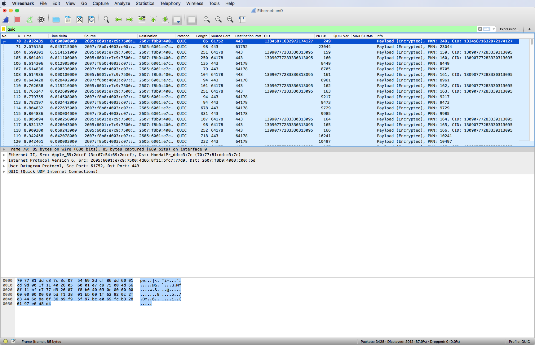 CellStream - Using Wireshark to Analyze QUIC/GQUIC Traffic