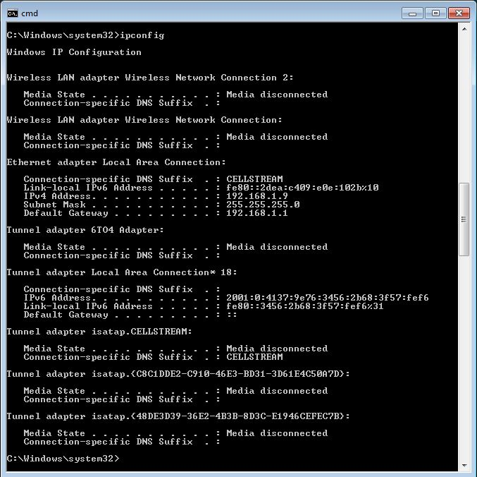 network settings windows 10 command line